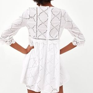 3a46ff6c808 Zara Pants - Zara white jumpsuit dress with cutwork embroidery
